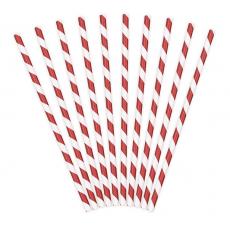 Papierové slamky červené Pásiky /10ks/