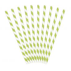 Papierové slamky zelené Pásiky /10ks/