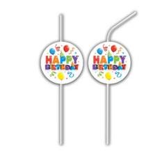 Papierové slamky Happy Birthday