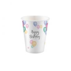 Poháre Happy Birthday pastel