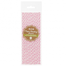 Papierové slamky ružové ECO