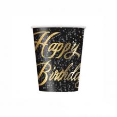 Poháre čierne Happy Birthday