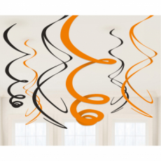 Závesná dekorácia oranžovo čierna