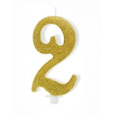 Sviečka č. 2 zlatá