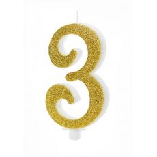 Sviečka č. 3 zlatá