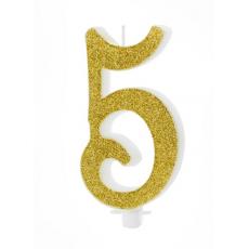 Sviečka č. 5 zlatá
