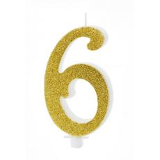 Sviečka č. 6 zlatá