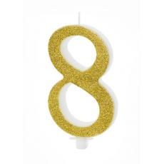 Sviečka č. 8 zlatá