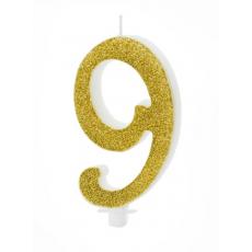 Sviečka č. 9 zlatá