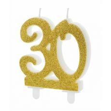Sviečka č. 30 zlatá