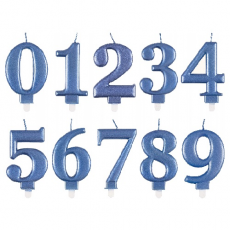 Sviečka číslo metalická modrá
