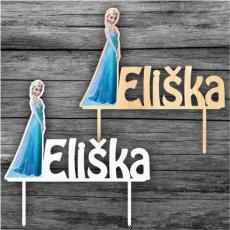 Zápich na tortu Frozen Elsa s menom