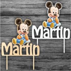 Tortový zápich Mickey Mouse baby s menom