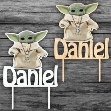 Zápich na tortu Star Wars Yoda s menom