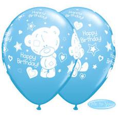 Balóny Macko Tiny Tatty BDay modré Q 11´´ RND
