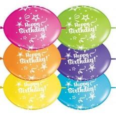 Balóny naväzovacie Happy Birthday Qlink 12´´