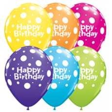 Balóny Happy Birthday bodky / Bday Dots 6ks Q 11´´