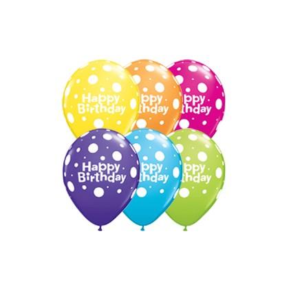 Balóny Happy Birthday bodky / Bday Dots 6ks Q 11´´