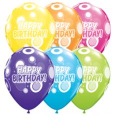 Balóny Happy Birthday / BDay Dots & Glitz 6ks Q 11´´