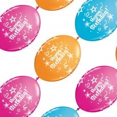 Balóny naväzovacie Happy Birthday 10 ks Qlink 12´´