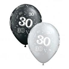 Balón číslo 30 RND Black&Silver 11´´