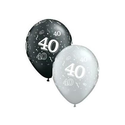 Balón číslo 40 RND Black&Silver 11´´