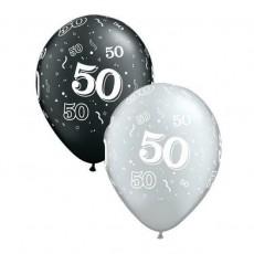 Balón číslo 50 RND Black&Silver 11´´