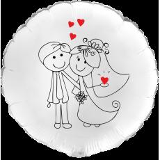 Balón Svadobný On a Ona biely kruh